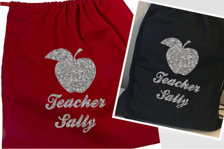 Teachers Apple Silver Glitter